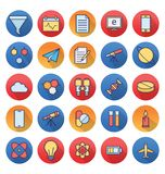Science and Technology Isolated Vector icons set consist with medical lab, chemistry, plane, mobile, and dna Science and Technolo. Science and Technology stock illustration