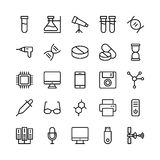 Science and Technology Line Vector Icons 9 Royalty Free Stock Images