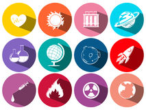 Science and technology symbols on round icons Stock Photography