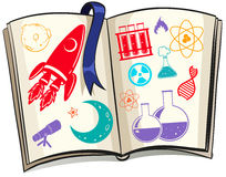 Science and techonolgy symbols on book Stock Photo