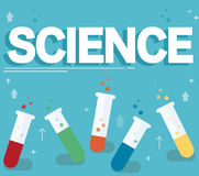 Science text and colorful laboratory filled with a clear liquid and blue background Stock Images