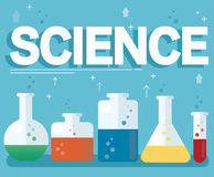 Science text and colorful laboratory filled with a clear liquid and blue background. EPS10 Royalty Free Stock Image