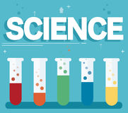Science text and colorful laboratory filled with a clear liquid and blue background Stock Image