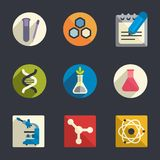 Science theme flat icons stock illustration