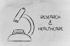 Science tools: microscope for research & healthcare Royalty Free Stock Photos