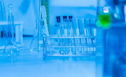 Science tools for test and analysis with laboratory and design concept. Royalty Free Stock Image