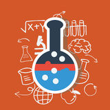 Science tube with science icons Royalty Free Stock Photos