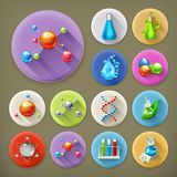 Science, tubes and molecules. Long shadow icon set Stock Photography
