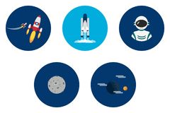 Science and Universe Icons Design. Set of great flat icons design illustration concepts for space, universe, galaxy, astrology, science and much more stock illustration