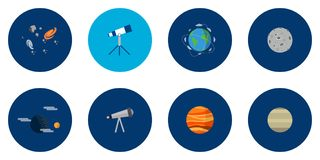 Science and Universe Icons Design. Set of great flat icons design illustration concepts for space, universe, galaxy, astrology, science and much more royalty free illustration