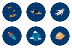 Science and Universe Icons Design. Set of great flat icons design illustration concepts for space, universe, galaxy, astrology, science and much more Vector Illustration