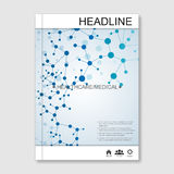 Science vector background. Modern vector templates for brochure, flyer, cover magazine or report in A4 size. Molecule Royalty Free Stock Image