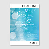 Science vector background. Modern vector templates for brochure, flyer, cover magazine or report in A4 size. Molecule Royalty Free Stock Photo