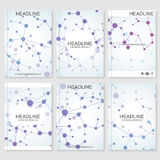 Science vector background. Modern vector templates for brochure, flyer, cover magazine or report in A4 size. Molecule Stock Photos