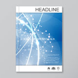 Science vector background. Modern vector templates for brochure, flyer, cover magazine or report in A4 size. Molecule Stock Image