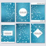 Science vector background. Modern vector templates for brochure, flyer, cover magazine or report in A4 size. Molecule Stock Images
