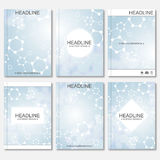 Science vector background. Modern vector templates for brochure, flyer, cover magazine or report in A4 size. Molecule Royalty Free Stock Photos