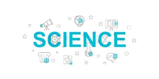 Science vector banner. Word with line icon. Vector background stock illustration