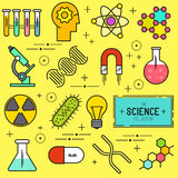 Science Vector Icon Set. A collection of science themed line icons including a atom, chemistry symbols and equipment. Layered Vector illustration Stock Image