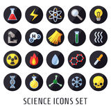 Science vector icons. Chemistry, Physics and Biology. Modern flat design. Icons set Royalty Free Stock Photography