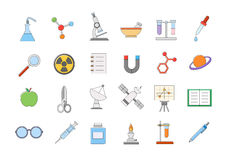 Science vector icons set. Set of 24 Science vector icons Royalty Free Stock Images