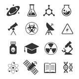 Science vector icons. Science of icons set atom and dna, technology science medical and chemistry illustration Stock Photo