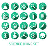 Science vector icons set. Chemistry, Physics and Biology. Turquoise and white. Science vector icons set. Chemistry, Physics and Biology. Modern flat design Stock Photos