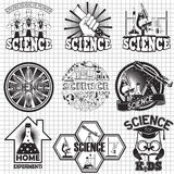 Science vector labels design. Home experiment and science for kids. Science vector labels and stickers design. Home experiment and science for kids Royalty Free Stock Image