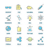 Science vector line icons with flat colors Royalty Free Stock Image