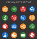 Science 16 flat icons. Science web icons for user interface design vector illustration