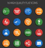 Science 16 flat icons. Science web icons for user interface design royalty free illustration