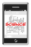 Science Word Cloud Concept on Touchscreen Phone Stock Images