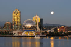 Science world and moonrise Stock Images