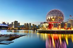 Science world in vancouver ,Canada. VANCOUVER - SEPTEMBER 25,2017 :The building`s former name Science World in Vancouver is a science centre run by a not-for royalty free stock images
