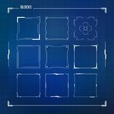 Sciencefiction HUD Ui Square Frames Stockfoto
