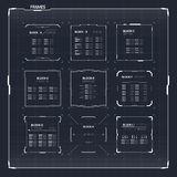 Sciencefiction HUD Ui Square Frames Stockfotografie