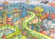 Sciencefiction-Landschaft Stockfoto