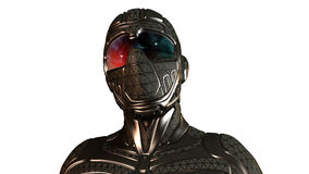 Sciencefiction Ninja, futuristischer Krieger in der Maske auf Weiß Lizenzfreies Stockfoto