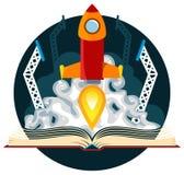 Sciencefictions-Buch mit Rocket Launch Lizenzfreies Stockfoto