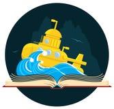 Sciencefictions-Buch mit Unterseeboot Stockbilder