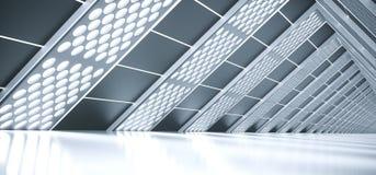 Sciencefictions-Korridor mit beleuchteter Gitter-Masche Lizenzfreies Stockbild