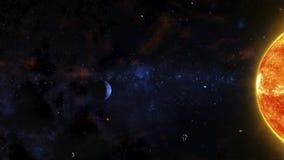Sciencefictions-Weltraum-Szene mit rotem Stern, Gas-Planeten, Asteroiden und Nebelflecken Stockfoto