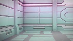 Sciencefictionsschmutz schädigte metallischen Korridorhintergrund 3d zu übertragen stock abbildung