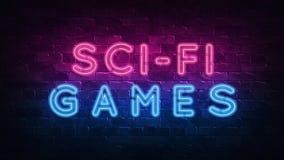 Sciencefictionsspielkonzept Purpur und blaues Neon-SCHILD auf einer dunklen Backsteinmauer Abbildung 3D vektor abbildung