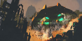 Sciencefictionsszene, die den Mann wieder herstellt das Raumschiff zeigt vektor abbildung