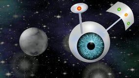 Sciencefictionsvideo mit UFO Fantasieraumschiff mit Fliegenabflussrinnenkosmos des blauen Auges, computererzeugter Film 3d lizenzfreie abbildung