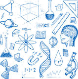 Sciences doodles icons vector set Royalty Free Stock Photo