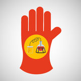 Sciencie glove and process distillation Royalty Free Stock Photo