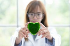 Sciene丝毫绿色精神头脑 绿色心脏在她的在实验室的手上背景 拿着o的美丽的微笑的女性医生或科学家 库存图片