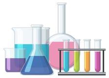 Sciene烧杯充满化学制品 向量例证